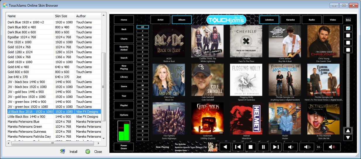 TouchJams Jukebox Software for the Windows PC - Features