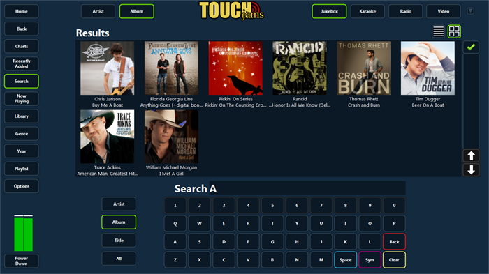 TouchJams Jukebox Software for the Windows PC - Screen Shots